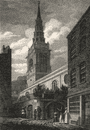 St. Bride's Church, Fleet Street, London. Antique engraved print 1817